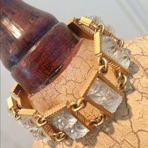 White crystal gold link solid substantial bracelet